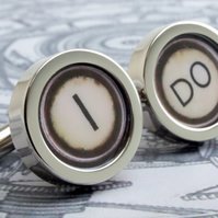 I Do Cufflinks for the Groom in Vintage Typewriter Style