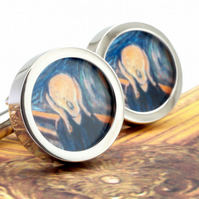 The Scream Cuff Links by Munch Fine Art Horror Cufflinks
