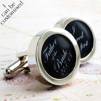 Father of the Bride Cufflinks 'I loved her first' with Wedding Date Custom