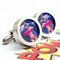 Pin Up Nude Batgirl Cufflinks from 1950s Vintage Calendars Comic Cuff Links