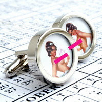 Vintage Nude Cufflinks Vintage 1960s Illustrated Pin Up Girl Cuff Links