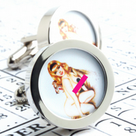 Erotic English Nude Cufflinks Vintage Pin Up Girl with Leopard Cuff Links
