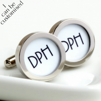 Monogrammed Cufflinks 1920s Style Initials Personalized Gift for Grooms Weddings