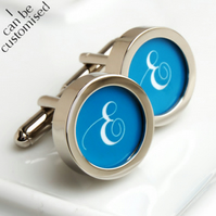 Initial Cufflinks, Monogrammed Cufflinks in Your Choice of Colour