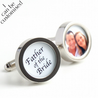 Father of the Bride Cufflinks with a Photo of Father & Daughter Custom Wedding