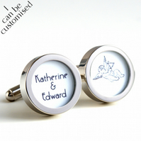 Groom Cufflinks with Cupid and the Names of the Bride & Groom 1920s Style