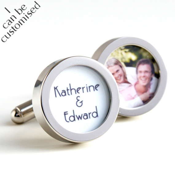 Groom Cufflinks with Names of the Bride & Groom & Photo of the Happy Couple