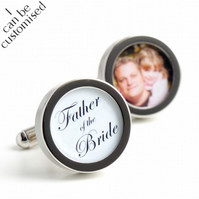 Custom Father of the Bride Cufflinks with Photograph of Father and Daughter