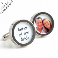 1920s Father of the Bride Custom Cufflinks with a Photo of Father and Daughter