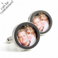 Photograph Cufflinks of Daddy and Daughter, Custom Cufflinks for Fathers