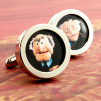Muppet Show Cufflinks of Statler and Waldorf Grumpy Old Men