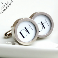 Two Initial Monogrammed Cufflinks 1920s Art Deco Style