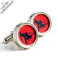 Salsa Cufflinks for Dancing Fans in Red and Black- Colour can be Customised