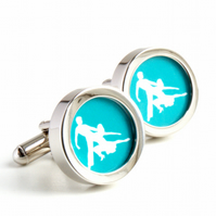 Salsa Cufflinks for Dancing Fans in Turquoise and White Colour can be Customised