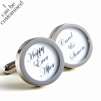 Happy Ever After Cufflinks for the Groom With Names of the Bride and Groom