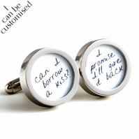 Can I Borrow a Kiss, I Promise to give it Back Romantic Quote Cufflinks