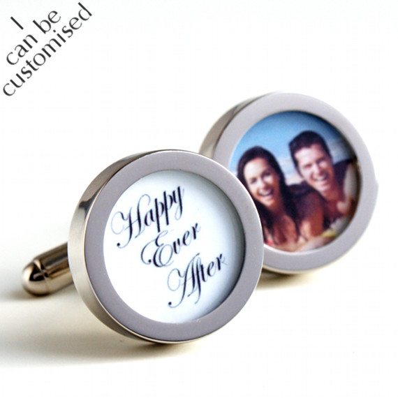 Happy Ever After Cufflinks for the Groom With a Photo of the Bride and Groom