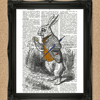 WHITE RABBIT DICTIONARY PRINT Alice in Wonderland illustration A053D