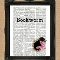 BOOKWORM DICTIONARY PRINT book lover gift A084D