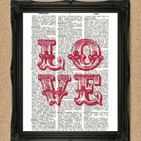 LOVE DICTIONARY PRINT red typography art A108D-RD