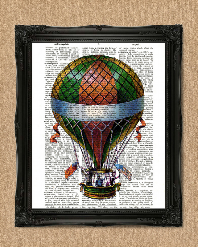 HOT AIR BALLOON DICTIONARY PRINT green, orange and yellow balloon A126D