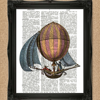 BALLOON BOAT DICTIONARY PRINT vintage hot air balloon decorative wall art A127D