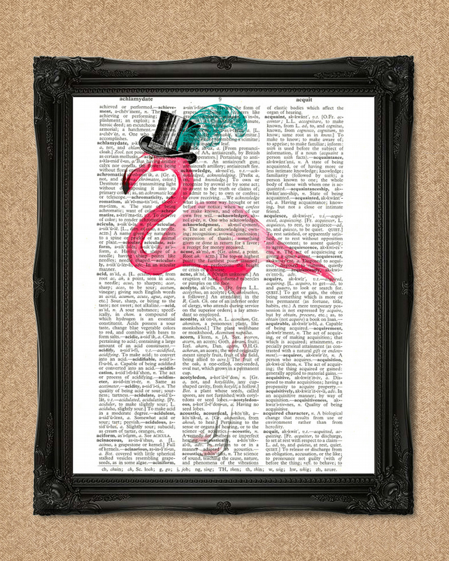 FLAMINGO DICTIONARY PRINT bird in a feather hat art A170D