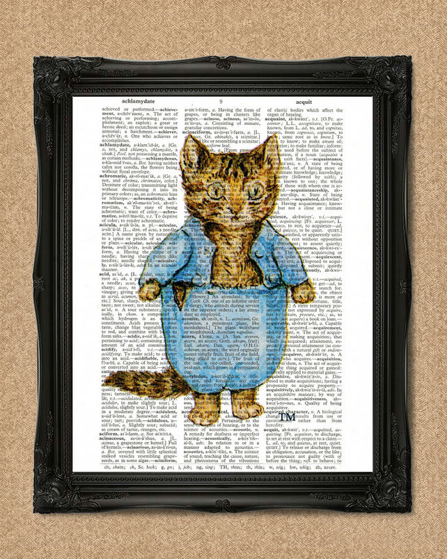 TOM KITTEN DICTIONARY PRINT Beatrix Potter colour illustration A193D