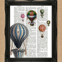 HOT AIR BALLOONS DICTIONARY PRINT Decorative upcycled book art A128D