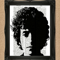 BOB DYLAN DICTIONARY PRINT folk singer upcycled book art A122D
