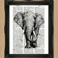 ELEPHANT DICTIONARY PRINT wild animal art A166D