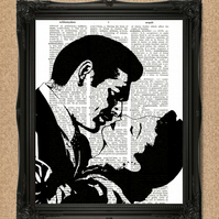 GONE WITH THE WIND DICTIONARY PRINT Scarlet O'Hara and Rhet Butler Artwork A143D