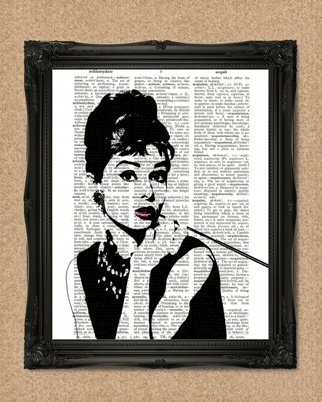 AUDREY HEPBURN DICTIONARY PRINT movie star magic art A136D