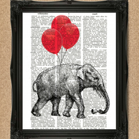 ELEPHANT AND RED BALLOONS DICTIONARY PRINT animal flying high illustration A187D