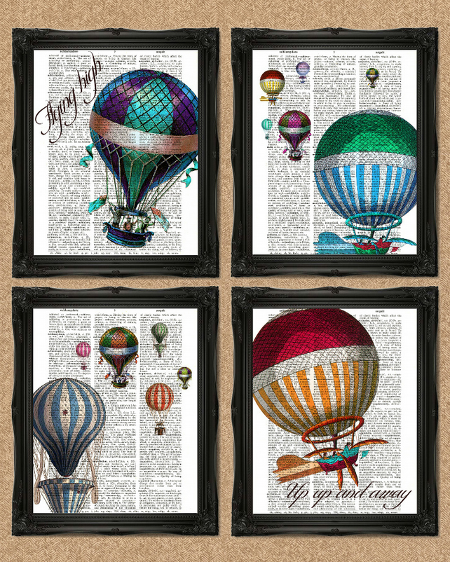 HOT AIR BALLOONS DICTIONARY PRINT  set of 4 colourful artworks A133D