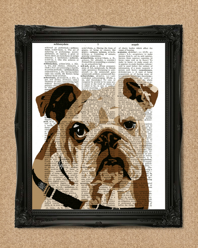 BULLDOG DICTIONARY PRINT dog lovers gift British Bulldog artwork A145D