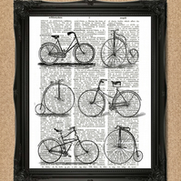 BICYCLE DICTIONARY PRINT riding bikes artwork A050D