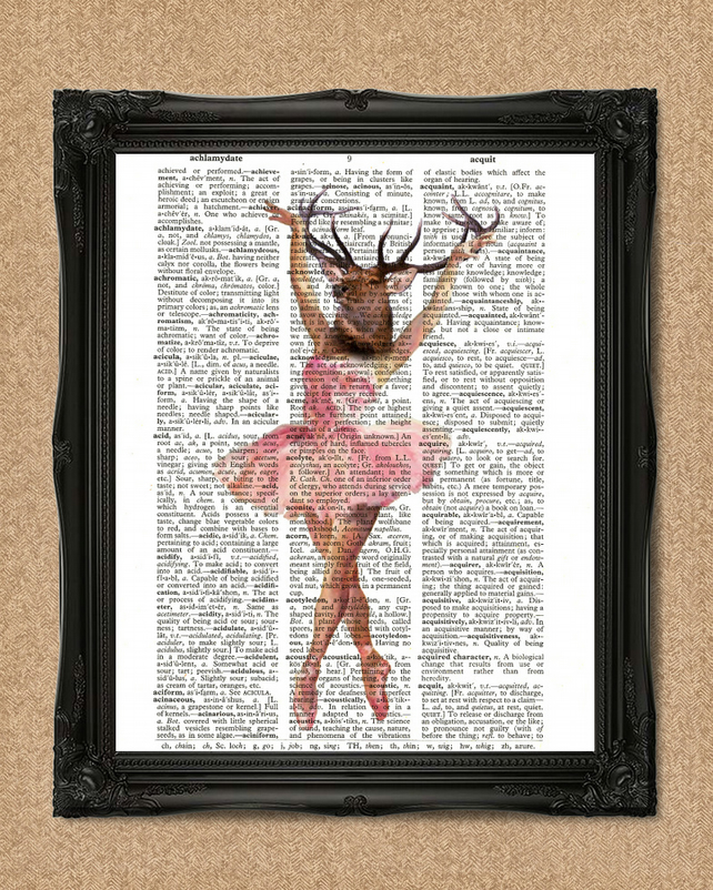 BALLERINA DICTIONARY PRINT ballet dancer with stags heard illustration A031D