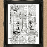 BATHROOM DICTIONARY PRINT toilet sign illustration artwork A015D