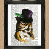 OWL DICTIONARY PRINT woodland bird illustration in a hat A019D