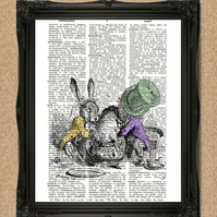 MAD HATTER'S TEA PARTY DICTIONARY PRINT Alice in Wonderland artwork A022D