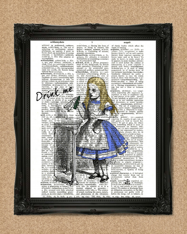 ALICE IN WONDERLAND DICTIONARY PRINT drink me colour illustration A023D