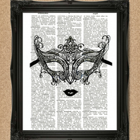 BURLESQUE MASK DICTIONARY PRINT masquerade decorative artwork A068D