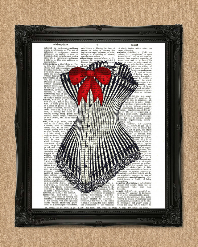 CORSET DICTIONARY PRINT red ribbon burlesque steampunk costume A072D