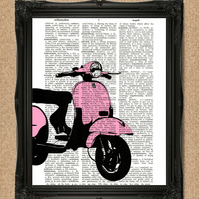 PINK VESPA DICTIONARY PRINT iconic scooter personalise colour A079D-PK