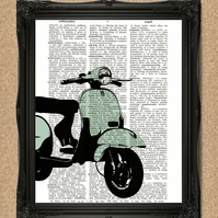 GREEN VESPA DICTIONARY PRINT iconic scooter personalise the colour A079D-GN