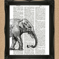 ELEPHANT DICTIONARY PRINT safari animal with bell A184D