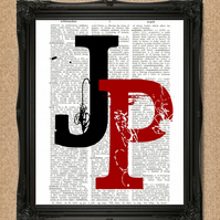 PAIR OF INITIALS DICTIONARY PRINT personalised monogram artwork A188D