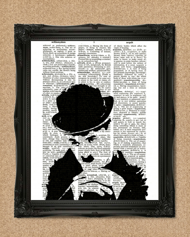 CHARLIE CHAPLIN DICTIONARY PRINT movie comedy legend artwork A144D