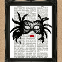 BURLESQUE MASK DICTIONARY PRINT feathers and lace masquerade mask A065D